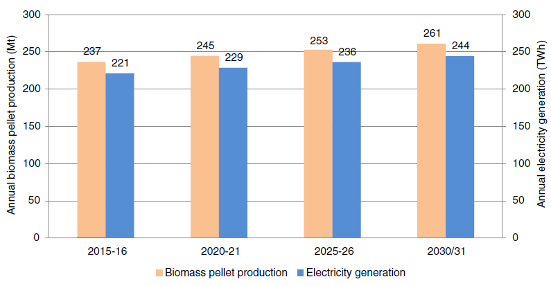 Annual biomass pellet production through biomass surplus and associated electricity generation